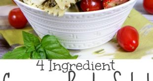 4 Ingredient Easy Caprese Pasta Salad with Pesto recipe - the best healthy, cold...