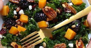 Harvest Blackberry and Butternut Squash Kale Salad