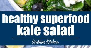 Healthy superfood kale salad with lemon dressing. This quinoa kale salad is one ...