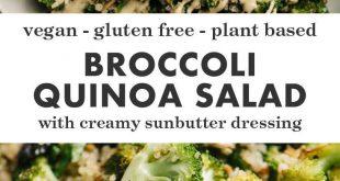 Roasted Broccoli Quinoa Salad with Sunbutter Sauce