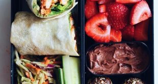Vegan pesto chik'un wrap with strawberries and chocolate cheesecake dip recipe i...